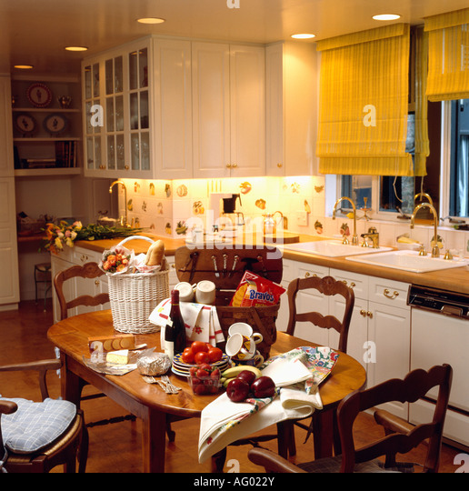 Yellow Kitchen Equipment: Interiors Yellow Diningrooms Traditional Stock Photos