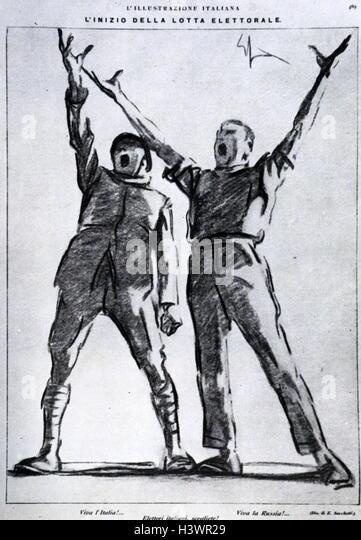 Italian political propaganda illustration. Dated 20th Century - Stock Image