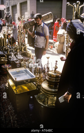 A westerner in the soukh  or market in Riyadh Saudi Arabia - Stock Image