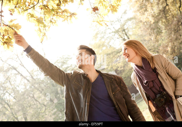 Young couple picking autumn leaf from tree - Stock Image