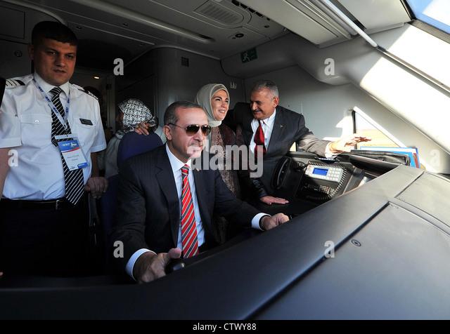Turkish Prime minister Recep Tayyib Erdoğan on a fast train test drive Ankara - Stock Image