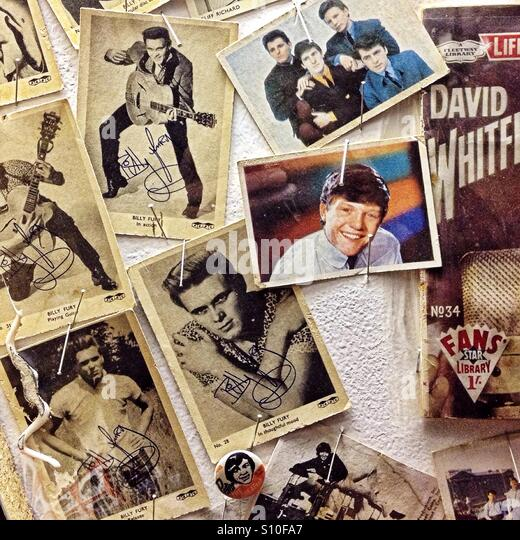 Wall of 1950s pop pin-ups - Stock-Bilder