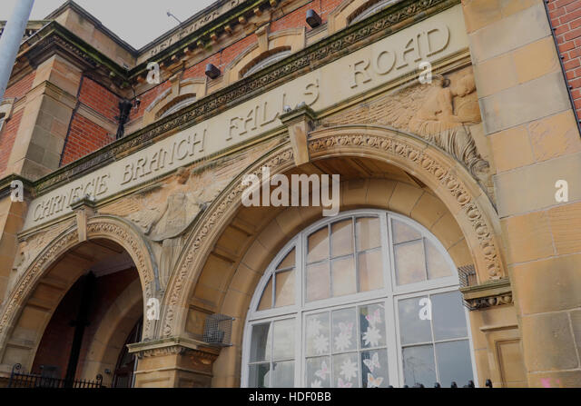 Belfast Falls Rd Carnegie Branch Library Facade & Entrance - Stock Image