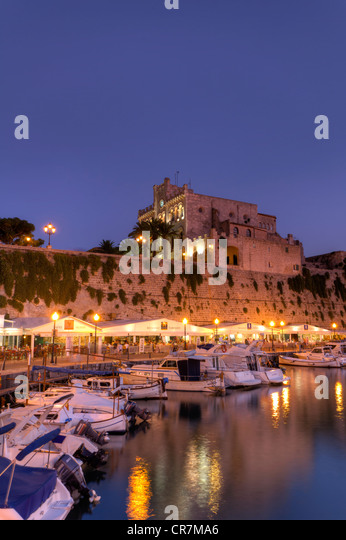 Spain, Balearic Islands, Menorca, Ciutadella, Historic Old Harbour and Old City centre - Stock Image