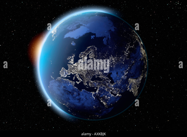 satellite image of planet earth Europe at night - Stock Image
