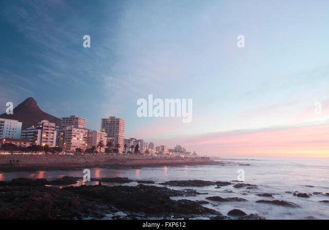 Marine fog at dusk, Sea Point, Cape Town, South Africa. - Stock Image