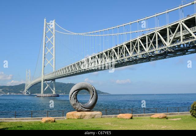 Akashi Kaikyo Bridge, also known as Pearl Bridge, is the longest suspension bridge in the world, located in Kobe, - Stock Image