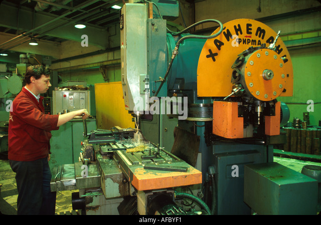 Russia former Soviet Union Moscow privatized machine tool factory worker - Stock Image