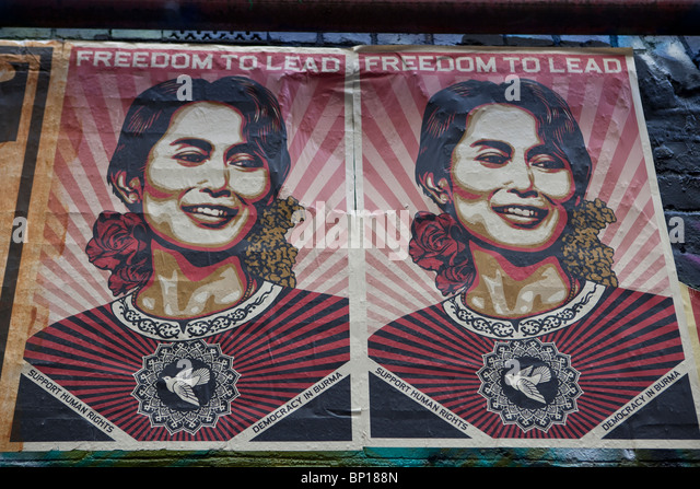 Shepard Fairey poster of Burmese leader Aung San Suu Kyi - Stock-Bilder