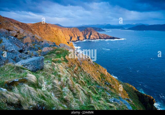 Last light at the island Runde on the Atlantic west coast, Møre og Romsdal fylke, Norway. - Stock-Bilder