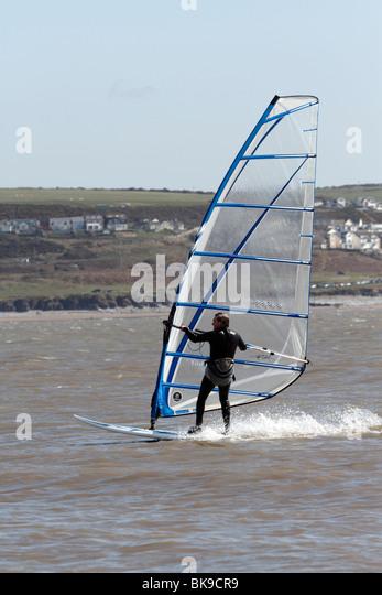 Windsurfers near the beach at Trecco Bay Porthcawl - Stock Image