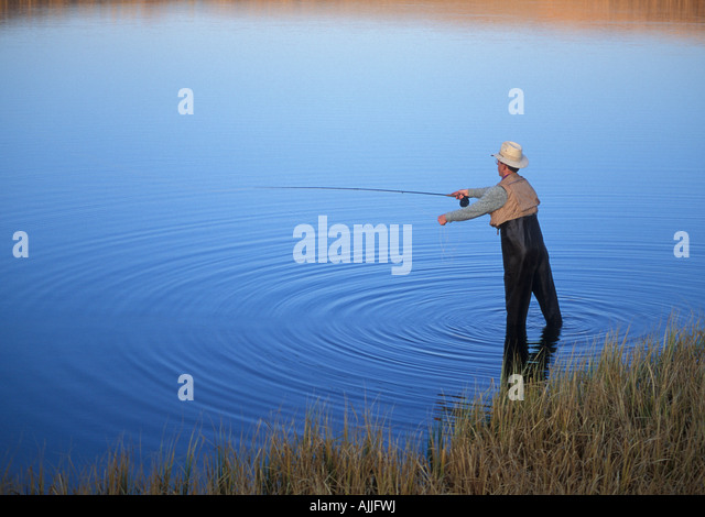 Fly fishing at Fish Lake on Steens Mountain southeast Oregon - Stock Image