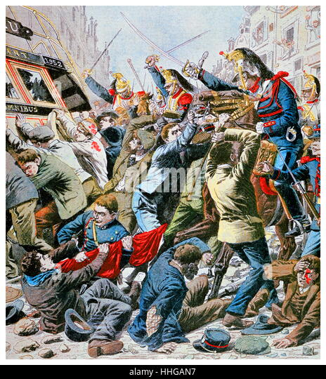 Cavalry charge protesters during riots in Paris on May Day. Illustration for Le Petit Journal, 13 May 1906. - Stock Image