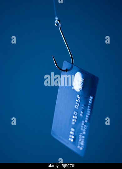 Credit card on fishing hook - Stock Image