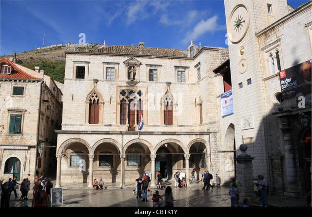 Sponza Palace and Bell Tower, Luza Square, Dubrovnik, Dubrovnik-Neretva, Dalmatia, Croatia, Balkans, Adriatic Sea, - Stock Image