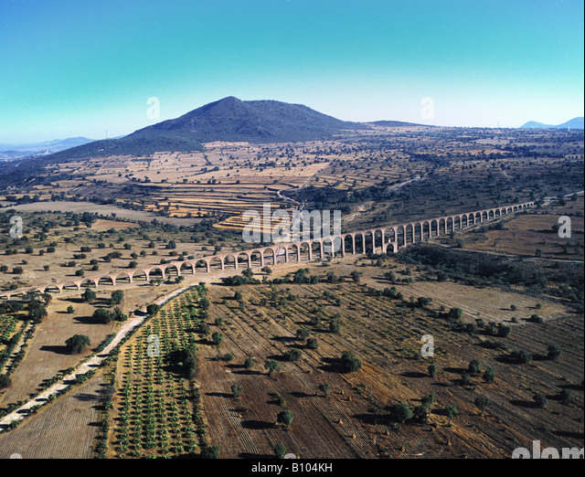 aerial above aqueduct State of Hidalgo Mexico - Stock Image