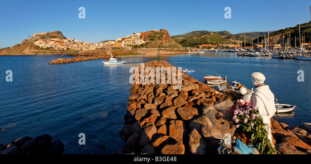 Italy Sardinia Castelsardo harbour patron saint for fishermen - Stock Image