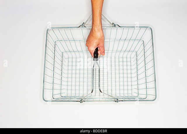women holding a wire shopping basket - Stock Image