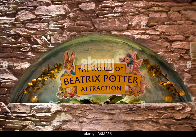 World of beatrix potter attraction exhibition peter rabbit Bowness on Windermere Lake District National Park - Stock Image
