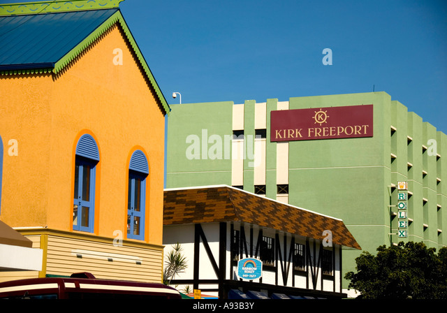 Grand Cayman George Town capital city skyline stores shops near cruise dock - Stock Image