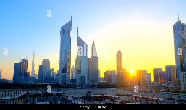 Sheikh Zayed Road with Emirates Towers in centre, Dubai, United Arab Emirates, Middle East - Stock Image