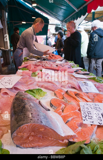 Salmon on sale at the Pescheria Rialto fish market San Polo Venice Italy - Stock Image