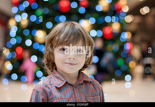 Portrait of blond boy (6-7) - Stock Image