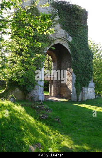 The picturesque haunted ruins of St Mary's Church at Little Chart near Pluckley Kent England UK, destroyed by - Stock Image