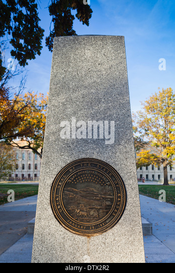 USA, Kansas, Topeka, Kansas State Capital, Seal of the State of Kansas - Stock Image