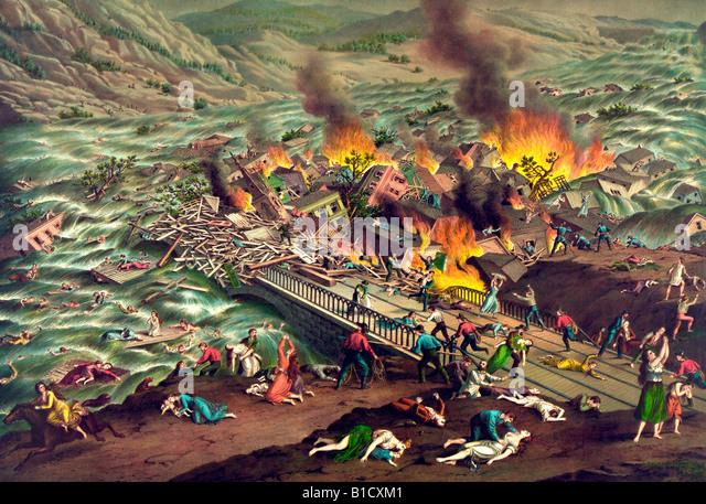 Johnstown Flood - Great Conemaugh-Valley disaster - Stock-Bilder