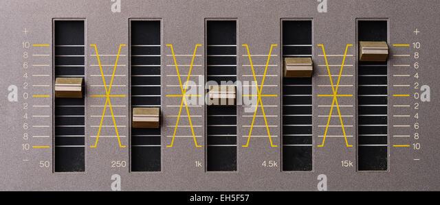 Sound equalizer five channels in natural light - Stock-Bilder