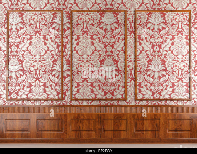 Interior scene of classic red wallpaper and wood molding wall with copy space ideal for background use. - Stock Image