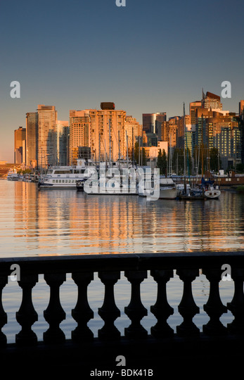 Coal Harbour and downtown Vancouver from Stanley Park, British Columbia, Canada. - Stock Image