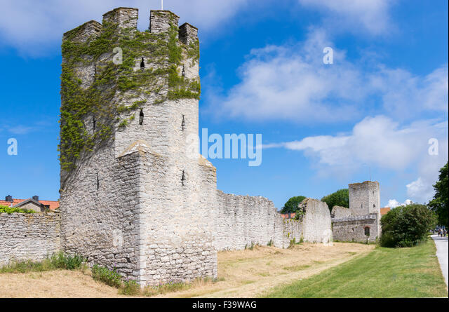 Visby old city wall - Stock Image