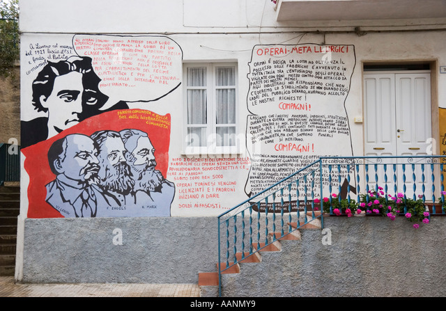 Murales, political wallpaintings in Orgosolo, Sardinia, Italy - Stock Image