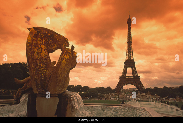 France Paris Eiffel tower sepia horse sculture  - Stock Image