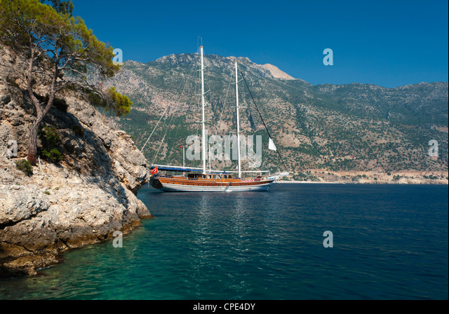 Gulet cruise, Olu Deniz, near Fethiye, Aegean, Anatolia, Turkey, Asia Minor, Eurasia - Stock Image