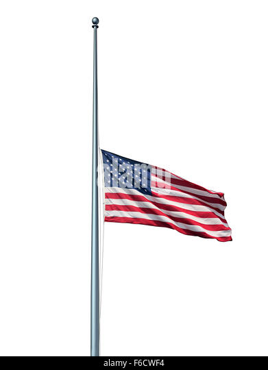 Half mast American flag isolated concept with the symbol of the United States flying at low level on the flagpole - Stock-Bilder