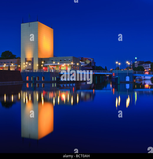 Groninger Museum at the Blue Hour Groningen Netherlands - Stock Image