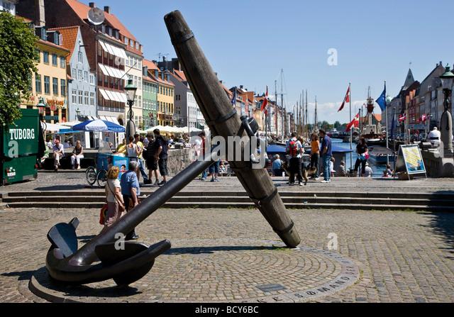 The Big Anchor, commemorating the Danish sailors who died during World War II, in Nyhavn, Copenhagen, Denmark - Stock Image