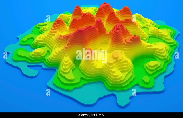 Topographical map of an island, illustration. - Stock-Bilder