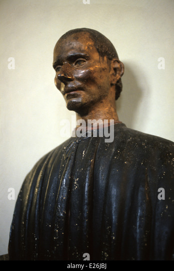 Niccolo Machiavelli,wooden polychrome bust of the 16th century,the Bargello Museum,Florence - Stock Image