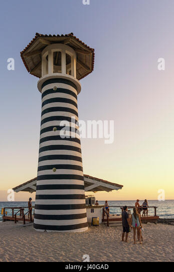 Playa Dominicus, The Lighthouse Beach Bar, Iberostar Hacienda Dominicus, La Romana, Dominican Republic - Stock Image