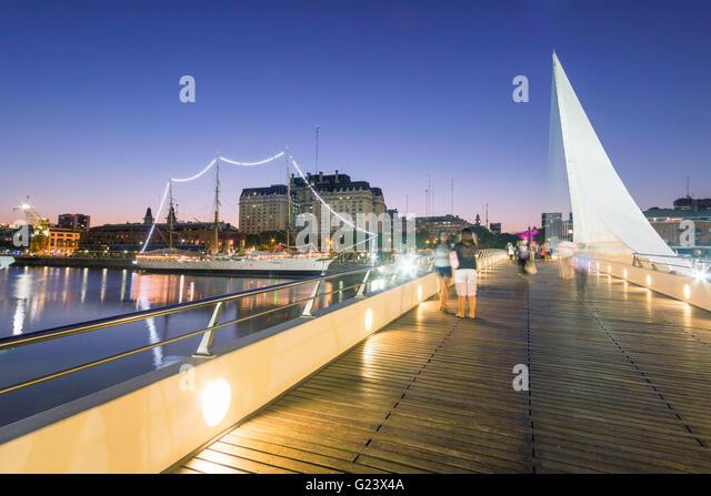 Puente de la Mujer bridge by Santiago Calatrava, Puerto Madero,  Buenos Aires, Argentina - Stock Image