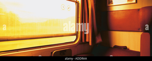 Interior view of an empty train's cabin - Stock Image