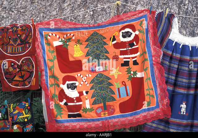 Panama San Blas Islands Cuna Indians Molas for sale black santa claus candy canes christmas - Stock Image