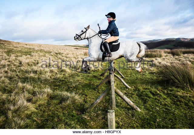Jedburgh, Scottish Borders, UK. 12th November 2016. Robyn Crawford of Hawick sails over a hunt jump in the Border - Stock Image