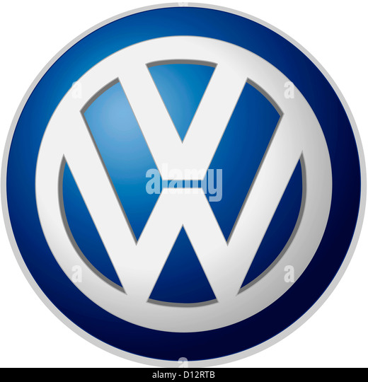 Company logo of the German automotive corporation Volkswagen AG based in Wolfsburg. - Stock Image