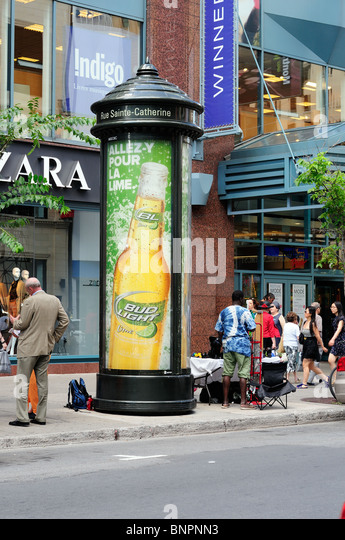 Advertising Poster For Bud Light Lime Beer On St Catherines Street, Montreal Canada - Stock Image