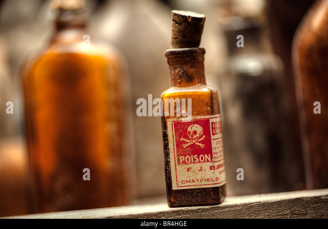 Poison bottles still-life - Stock Image